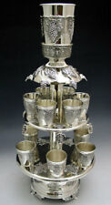 2 Tier Wine Fountain 12 Cups Silver Plated Grapes Design