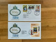 TURKS & CAICOS 1985 FDC x 2 QUEEN MOTHER 85TH BIRTHDAY ROYALTY & MINISHEET