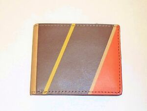 NEW FOSSIL GAGE YELLOW MULTI STRIPES, LEATHER BIFOLD CLEAR ID POCKET MENS WALLET