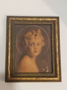 """Antique Wood Framed LIGHT OF THE WORLD Edward Gross Co NY Angel Picture 4.5x5.5"""""""