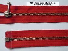 Reißverschluss teilbar Metall mit Schmuckschieber 56 cm rot