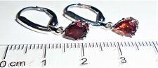 Mozambique RED Pear Garnet 7x5 Dangle Leverback Earrings  Sterling Silver