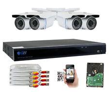 8 Channel DVR (4) 5MP 1920p CCTV Weatherproof Bullet Security Camera System 4TB
