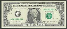 $1 2003-A==NUMBER 2063==FOUR DIGIT SERIAL=FANCY=G 00002063 H==GEM CU