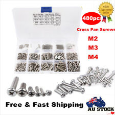 480pc M2 M3 M4 304 Stainless Steel Metric Phillips Pan Head Screws Nuts Bolt Kit