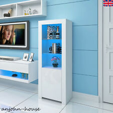 High Gloss LED Lights Display Cabinet Cupboard Sideboard Shelves Case White Unit