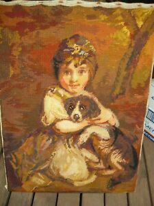 Antique handsewn tapestry - Girl with dog - unframed - in very good condition