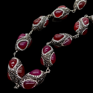 """Red Agate Black Rhinestone Pave Necklace 22"""""""