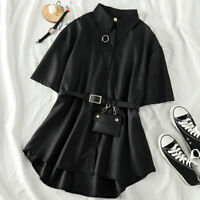 Lady Gothic Shirt Blouse Dress Top Loose Punk Metal Chain Ring Belt Pocket Baggy