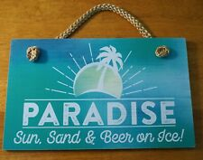 New ListingParadise Sun Sand & Beer On Ice Tropical Tiki Bar Beach Nautical Home Decor New
