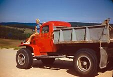 1949 35mm slide. Dodge military-style Power Wagon and pretty blonde lady