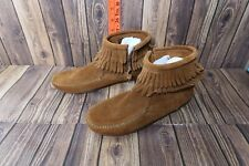 Minnetonka Moccassins Fringe Ankle Booties Brown Womens Shoes Size 3