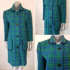 Vintage Welsh Wool Tapestry Coat Size 12/14 Long Green & Blue 1960s Celtique