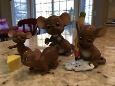 Vintage Josef Original (Lot of 4) Mice w/Cheese Figurines