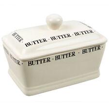 New The Leonardo Collection Cream Script Butter Dish Boxed