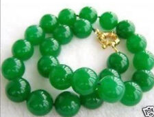 """12mm Green Emerald Round Bead Necklace 18"""""""
