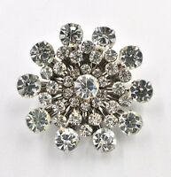 Vintage Clear Rhinestone Tiered Atomic Christmas Holiday Snowflake Brooch Pin