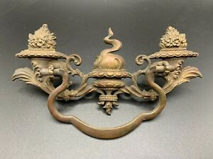 """Victorian drawer bail handle and back plate ORNATE Brass Antique 3"""" w eye screws"""