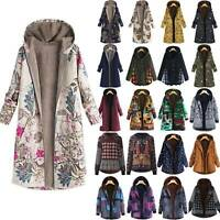 Womens Winter Warm Fleece Hoodies Parka Jacket Floral Long Trench Coat Overcoats