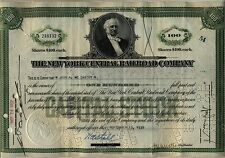 New York Central Railroad Stock Certificate Green