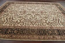 Classic Floral IVORY/BLACK Assorted Oushak Agra Area Rug Wool Hand-Knotted 9x12