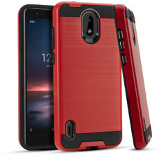 For Nokia 3.1A / Nokia 3.1C - Hard Hybrid Brushed Armor Phone Case Cover Red