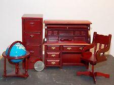 Dollhouse Miniature Office Desk 4 piece Set 1:12 inch scale E1 Dollys Gallery