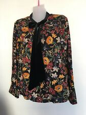 ZARA TRF BLACK FLORAL PRINT BLOUSE TOP SIZE XS LADIES BNWT