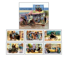 AFG9809 Old cars block and 6 stamps