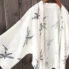 Ladies Cardigan Japanese Kimono Open Front Summer Dragonfly Print Chiffon Blouse