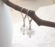925 Silber BERGKRISTALL Ohrringe weiß, schlichte Ohrhänger mit Brisur d276