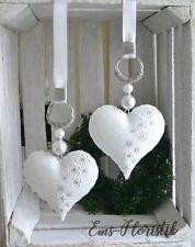 Fensterdeko Metall Herz weiß-grau mit Strass, Perlen 16 cm