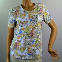 Coral Bay Petite Top Womens Medium PM Short Sleeve Shirt Cityscape and Fruits