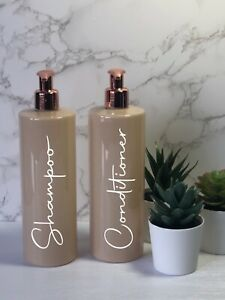 Personalised nude/beige bottle with rose gold pump 500ml
