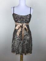 BCBGMAXAZRIA Dress Size S Brown Metallic Sequin Sleeveless Mini Party Cocktail