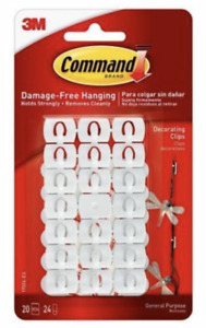 Command Adhesive Hooks Clips Damage Free Hanging 20 Clips light decorations