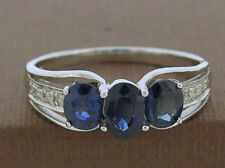 R245 Genuine 9K Solid White Gold NATURAL Sapphire DIAMOND Trilogy Ring size O