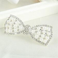 Fashion Crystal Bow Hair Clip Hairpin Barrette Pearl Hair Accessories 、Pop