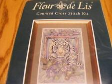 "EPX2004 Fleur de Lis Cross Stitch 2001 At Home in the Garden Tiger 16""x11"""