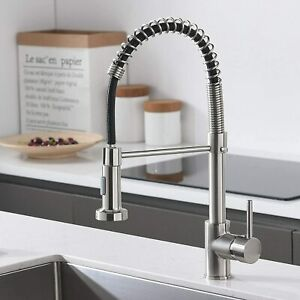 360° Swivel Mixer Tap Single Handle Spring Kitchen Sink Faucet Pull Out Spray UK