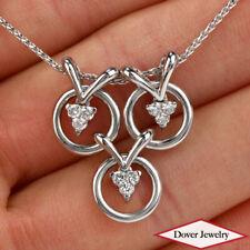 Estate Diamond 18K White Gold Circle-Pendant Chain Necklace 7.7 Grams NR