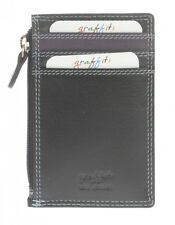 Graffiti/Golunski  leather Credit card & coin zipped pocket Style 7155 col Black