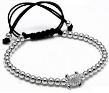 Mens 18k Gold Plated 4mm Micro Pave Zircon Beads Braiding Macrame Yoga Bracelet
