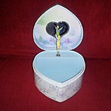 "Disney TINKERBELL Musical Jewelry Box Heart Shaped Plays ""Claire De Lune"" Tune"