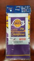 """VINTAGE Los Angeles Lakers 2002 NBA Champions 27""""x 37"""" 3-Peat Vertical Flag New"""