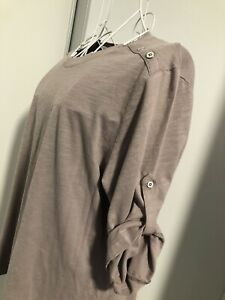 DUCHAMP Size 14 Cappuccino coloured 3/4 roll tab sleeve top