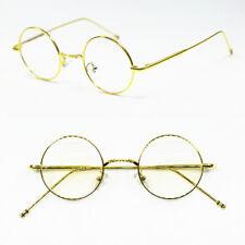 Vintage Small 40mm Round Gold eyeglass frames Rx able Unisex Full Rim Glasses