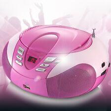 MP3 CD-Player UKW MW Radio Tuner USB Boombox Stereoanlage Lenco SCD-37 USB pink