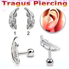 Feather Tragus Helix Bar Cartilage Ear Earring Bone End Bio Stud Pierce 6mm