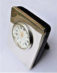 NO RESERVE Sterling Silver HM 1999 Asprey & Garrard Desk Travel Clock